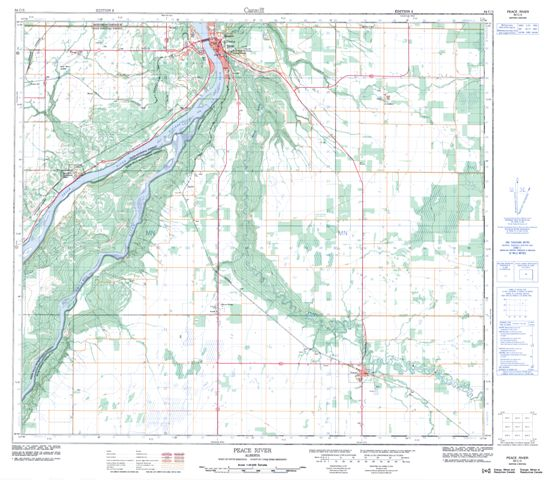 peace river topographic paper map 084c03 at 150000 scale