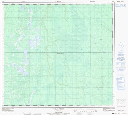 Buhler Creek Topographic Paper Map 084F07 at 1:50,000 scale