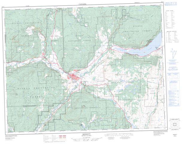 Merritt Topographic Paper Map 092I02 at 1:50,000 scale