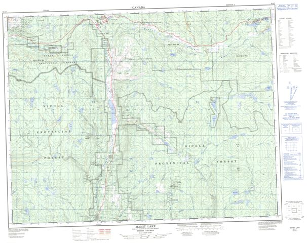 Mamit Lake Topographic Paper Map 092I07 at 1:50,000 scale