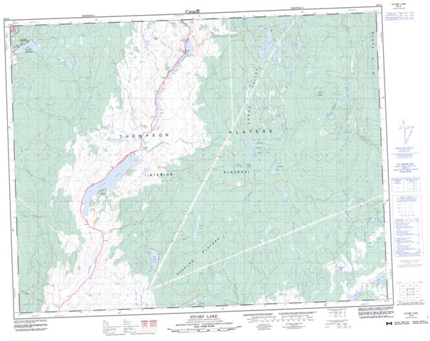Stump Lake Topographic Paper Map 092I08 at 1:50,000 scale