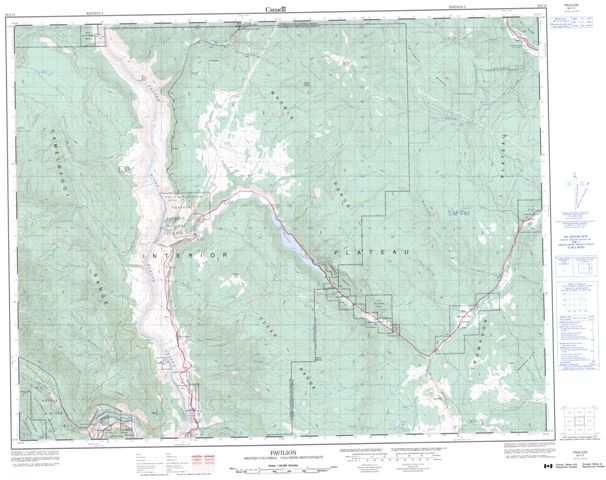 Pavilion Topographic Paper Map 092I13 at 1:50,000 scale