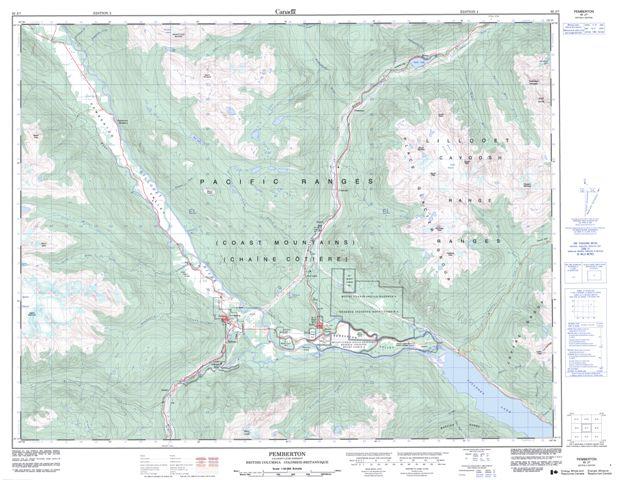 Pemberton Topographic Paper Map 092J07 at 1:50,000 scale