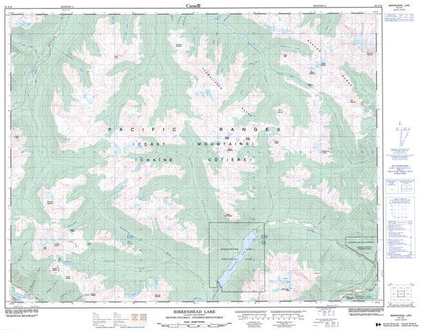 Birkenhead Lake Topographic Paper Map 092J10 at 1:50,000 scale