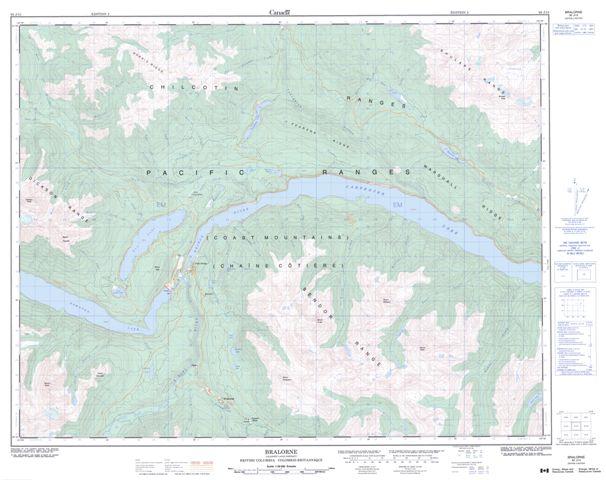 Bralorne Topographic map 092J15 at 1:50,000 Scale