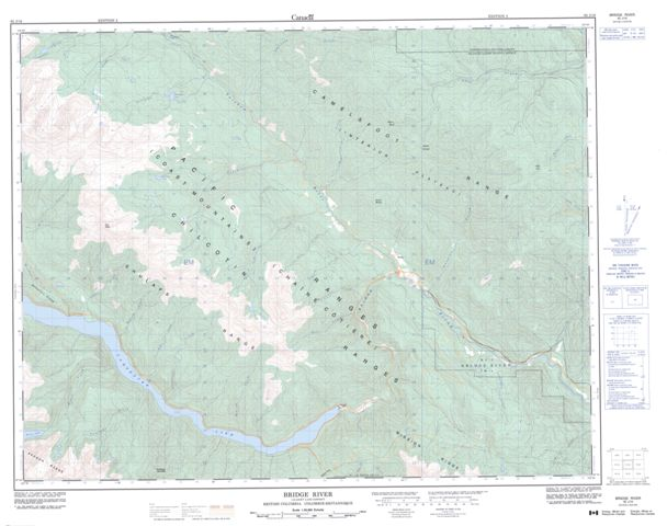 Bridge River Topographic map 092J16 at 1:50,000 Scale