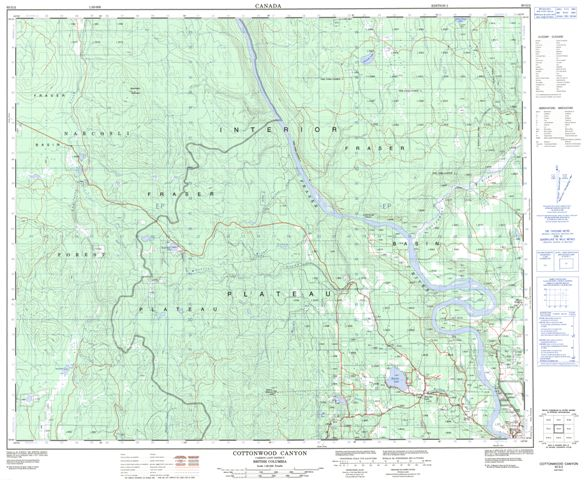 Cottonwood Canyon Topographic Paper Map 093G02 at 1:50,000 scale