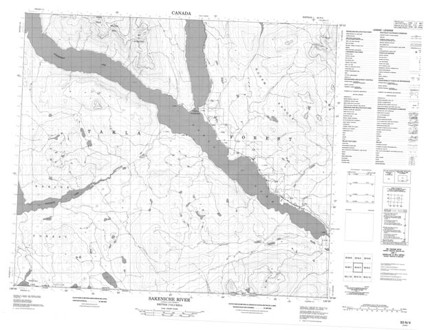 Sakeniche River Topographic Paper Map 093N04 at 1:50,000 scale