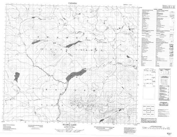 Klawli Lake Topographic Paper Map 093N07 at 1:50,000 scale