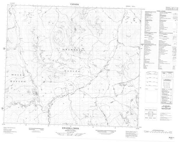 Kwanika Creek Topographic Paper Map 093N11 at 1:50,000 scale