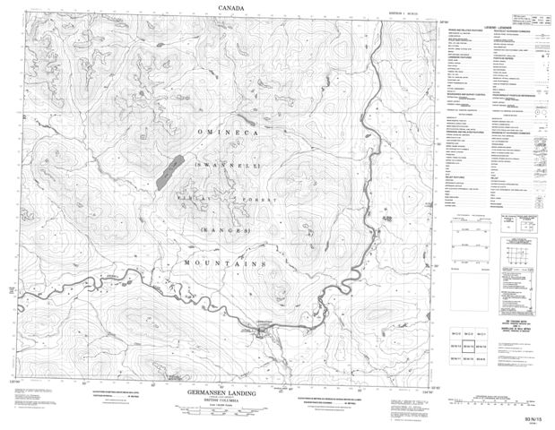 Germansen Landing Topographic Paper Map 093N15 at 1:50,000 scale