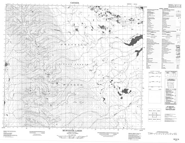 Moscovite Lakes Topographic Paper Map 093N16 at 1:50,000 scale