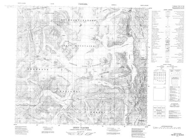 Leduc Glacier BC Maps Online Free Topographic Map Sheet 104B01 at