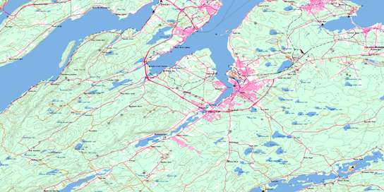 Sydney Topo Map 011K01 at 1:50,000 scale - National Topographic System of Canada (NTS) - Toporama map