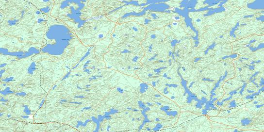 Route Lake Topo Map 052K02 at 1:50,000 scale - National Topographic System of Canada (NTS) - Toporama map