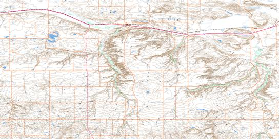 Irvine Topo Map 072E16 at 1:50,000 scale - National Topographic System of Canada (NTS) - Toporama map
