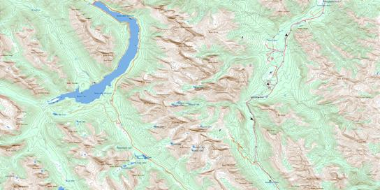 Spray Lakes Reservoir Topo Map 082J14 at 1:50,000 scale - National Topographic System of Canada (NTS) - Toporama map