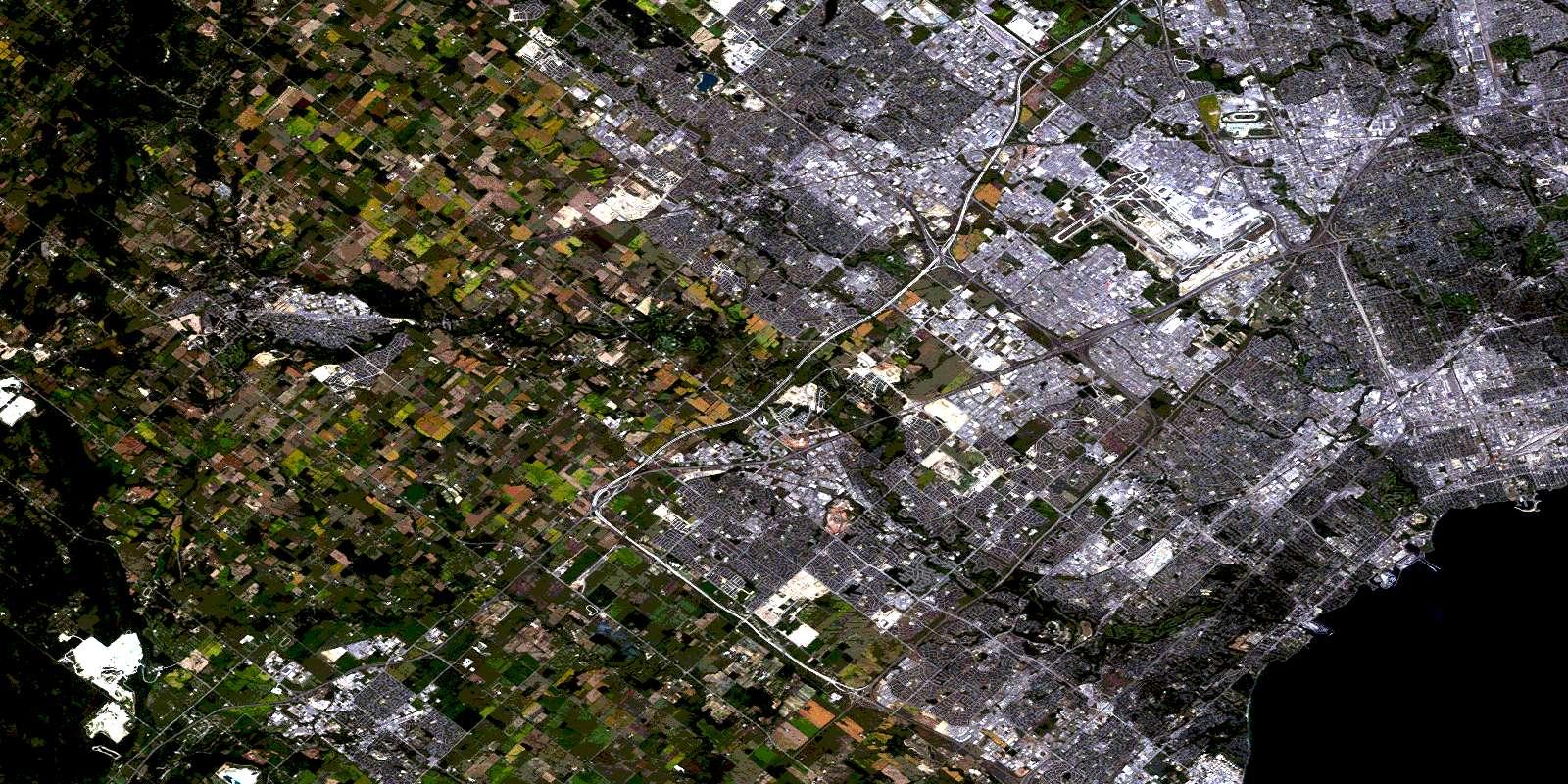 Brampton ON Free Satellite Image Map - 030M12 at 1:50,000