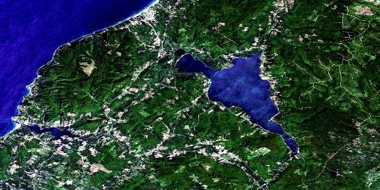 Lake Ainslie Satellite Map 011K03 at 1:50,000 scale - National Topographic System of Canada (NTS) - Orthophoto
