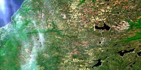 Cheticamp River Satellite Map 011K10 at 1:50,000 scale - National Topographic System of Canada (NTS) - Orthophoto