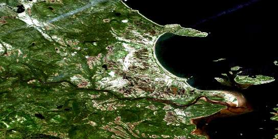 Trunmore Bay Satellite Map 013H14 at 1:50,000 scale - National Topographic System of Canada (NTS) - Orthophoto