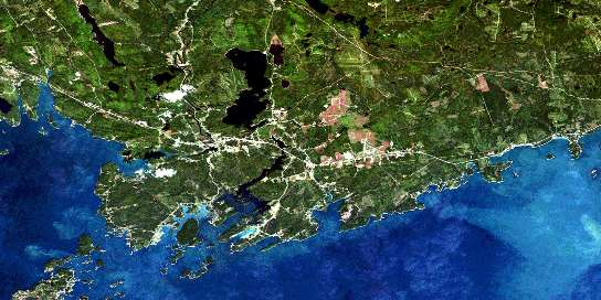 St George Satellite Map 021G02 at 1:50,000 scale - National Topographic System of Canada (NTS) - Orthophoto