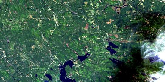 Fosterville Satellite Map 021G13 at 1:50,000 scale - National Topographic System of Canada (NTS) - Orthophoto
