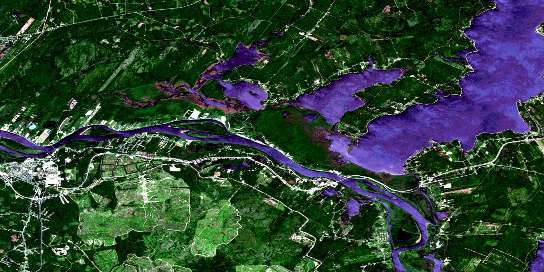 Grand Lake Satellite Map 021G16 at 1:50,000 scale - National Topographic System of Canada (NTS) - Orthophoto
