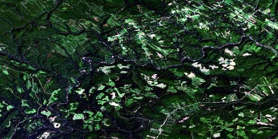 Menneval Satellite Map 021O14 at 1:50,000 scale - National Topographic System of Canada (NTS) - Orthophoto