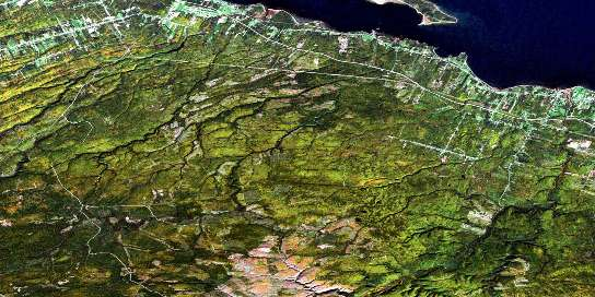 Charlo Satellite Map 021O16 at 1:50,000 scale - National Topographic System of Canada (NTS) - Orthophoto