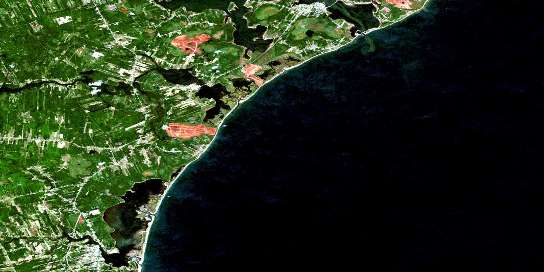 Tracadie Satellite Map 021P10 at 1:50,000 scale - National Topographic System of Canada (NTS) - Orthophoto