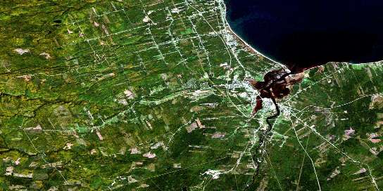 Bathurst Satellite Map 021P12 at 1:50,000 scale - National Topographic System of Canada (NTS) - Orthophoto