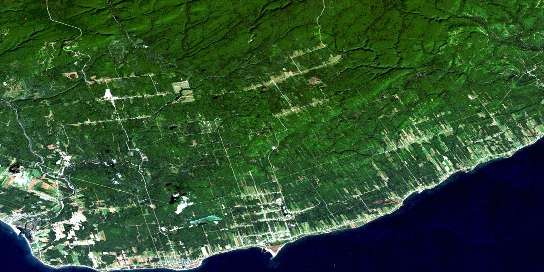 New Carlisle Satellite Map 022A03 at 1:50,000 scale - National Topographic System of Canada (NTS) - Orthophoto