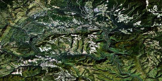 Monts Berry Satellite Map 022B09 at 1:50,000 scale - National Topographic System of Canada (NTS) - Orthophoto