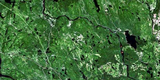 Lac D'Anville Satellite Map 032H03 at 1:50,000 scale - National Topographic System of Canada (NTS) - Orthophoto