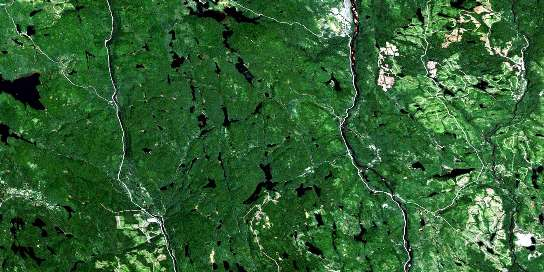 Lac Blondelas Satellite Map 032H07 at 1:50,000 scale - National Topographic System of Canada (NTS) - Orthophoto