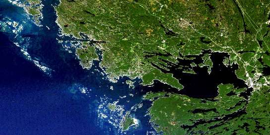 Parry Sound Satellite Map 041H08 at 1:50,000 scale - National Topographic System of Canada (NTS) - Orthophoto