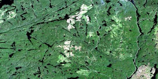 Dickison Lake Satellite Map 042E03 at 1:50,000 scale - National Topographic System of Canada (NTS) - Orthophoto
