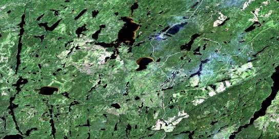 Wintering Lake Satellite Map 042E06 at 1:50,000 scale - National Topographic System of Canada (NTS) - Orthophoto