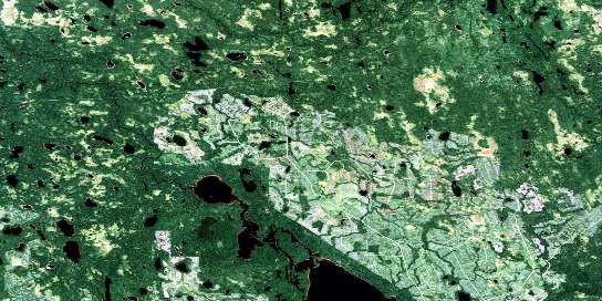 Montreuil Lake Satellite Map 042H10 at 1:50,000 scale - National Topographic System of Canada (NTS) - Orthophoto