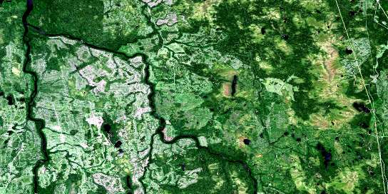 Abimatinu River Satellite Map 042H12 at 1:50,000 scale - National Topographic System of Canada (NTS) - Orthophoto