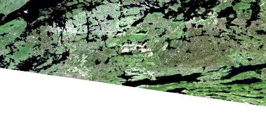 Saganaga Lake Satellite Map 052B02 at 1:50,000 scale - National Topographic System of Canada (NTS) - Orthophoto