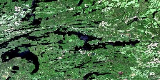 Shebandowan Satellite Map 052B09 at 1:50,000 scale - National Topographic System of Canada (NTS) - Orthophoto