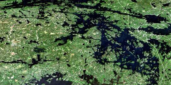 Sioux Narrows Satellite Map 052E08 at 1:50,000 scale - National Topographic System of Canada (NTS) - Orthophoto