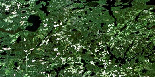 Route Lake Satellite Map 052K02 at 1:50,000 scale - National Topographic System of Canada (NTS) - Orthophoto