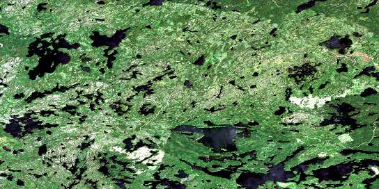 Pipestone Bay Satellite Map 052M01 at 1:50,000 scale - National Topographic System of Canada (NTS) - Orthophoto