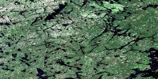 Pikangikum Lake Satellite Map 052M16 at 1:50,000 scale - National Topographic System of Canada (NTS) - Orthophoto
