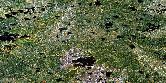 Lewis Lake Satellite Map 053D12 at 1:50,000 scale - National Topographic System of Canada (NTS) - Orthophoto