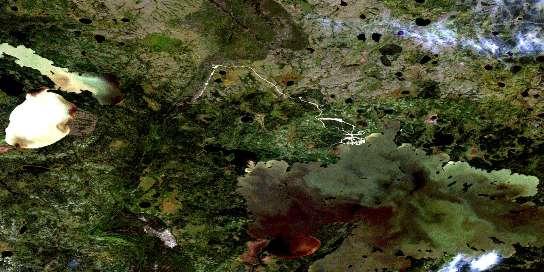 Sachigo Lake Satellite Map 053F16 at 1:50,000 scale - National Topographic System of Canada (NTS) - Orthophoto
