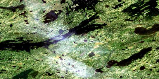 Knee Lake Satellite Map 053L15 at 1:50,000 scale - National Topographic System of Canada (NTS) - Orthophoto